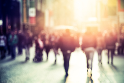 people walking in the street, blurry abstract